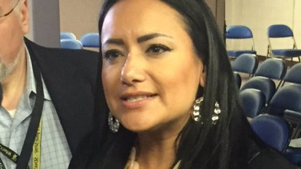 Calgary blogger Nicole Robertson shouted out an objection when Donald Trump referred to a U.S. Senator as Pocahontas at a media scrum in North Dakota on Thursday. (@sarahmccammon/Twitter)