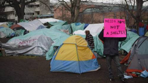 Homeless Campers In Victoria's tent city — The Canadian Press