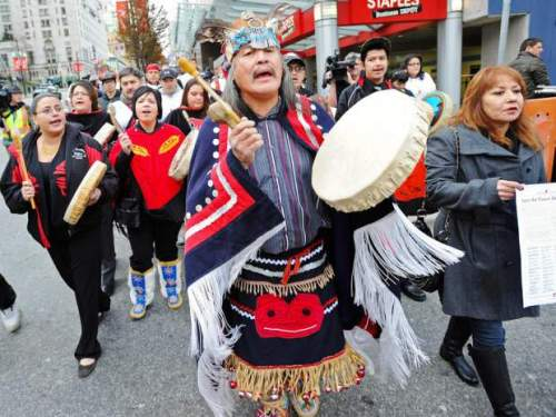 Members from a coalition of First Nations groups protest Enbridge's proposed Northern Gateway pipeline in April 2012.