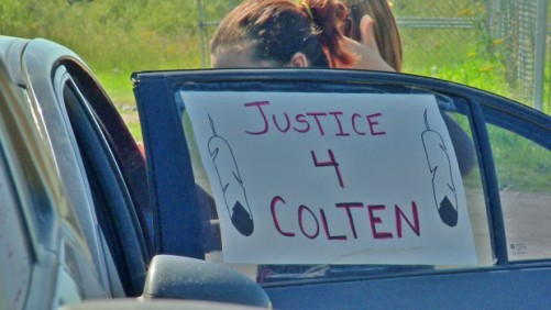 Family from as far away as Alberta and the northwest U.S. gathered on the Red Pheasant First Nation Saturday morning for the funeral of Colten Boushie. (OLIVIER FERAPIE/RADIO-CANADA)