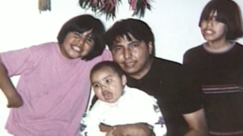 George Many Shots poses with his children. He was beaten to death in an unprovoked attack by a stranger in Lethbridge, Alta., in 2008 for being Aboriginal. (APTN)