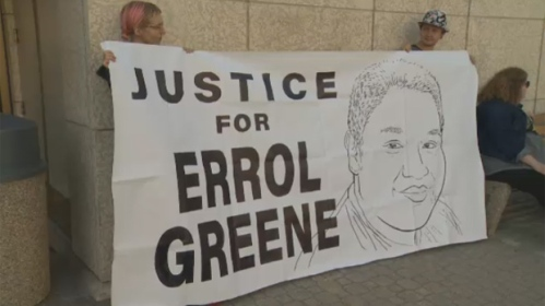 Friends and family of Errol Greene, who died of a seizure while at the Winnipeg Remand Centre, gathered for a 24-hour vigil at the law courts on Aug. 9, 2016.