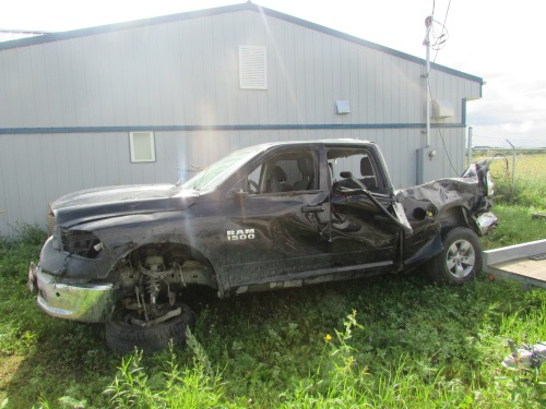 Truck involved in rollover at the RCMP detachment in Bloodvein. Photo: Red Power Media.