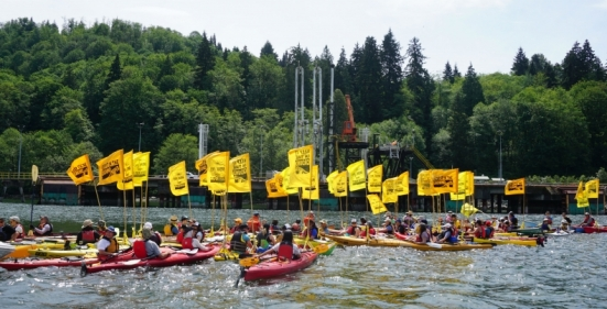 Kayaktivists target the Kinder Morgan terminal in Burnaby, B.C. during a protests against the company's Trans Mountain expansion on Sat. May 14, 2016. Photo by Elizabeth McSheffrey.