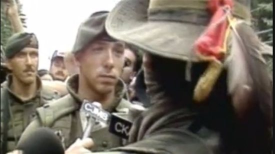 Sept 1, 1990: A Mohawk 'warrior* Ronald *lasagna* Cross, is involved in a stare-down with a Canadian solider of the Royal 22e Regiment. The incident lasted only several seconds, Cross later telling reporters, *I just wanna look at their faces before I kill 'em.*