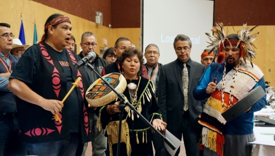 Tsleil-Waututh spokesperson Rueben George, Coun. Charlene Aleck, and manager of cultural relations Gabriel George open the signing ceremony for the Treaty Alliance Against Tar Sands Expansion in Vancouver, B.C. on Thurs. Sept. 22, 2016