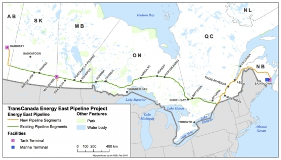A graphic shows the proposed route of TransCanada Corp.'s Energy East pipeline between Hardisty, Alberta and Saint John, New Brunswick. Graphic from National Energy Board website in September 2016.