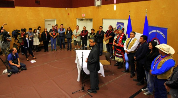 The signing ceremony at the Musqueam Community Centre Union of BC Indian Chiefs
