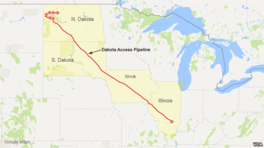 Proposed route for the Dakota Access Pipeline