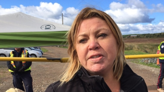 Band member Cheryl Maloney says the sit-in won't end until the work stops and a court appeal of the environmental permits is completed. (Robert Short/CBC)