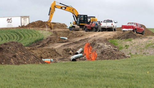 Construction on the Sacagawea Pipeline is pictured in July 2016 in Mountrail County, N.D. The Laborers District Council of Minnesota and North Dakota submitted this photo to state regulators with concerns about construction practices. Submited photo