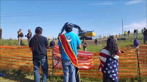 Standing Rock Sioux Tribe and their allies protest construction of the Dakota Access Pipeline.