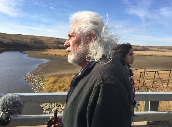 Miles Allard, a tribal elder who negotiated a peaceful stand-down between pipeline protesters and authorities on Friday. (Alan Berner / The Seattle Times)