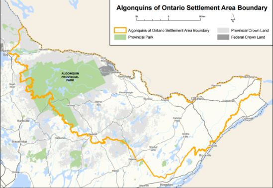 The agreement-in-principle, signed Tuesday in Ottawa, stretches from Parliament Hill to parts of Algonquin Park and up to North Bay, an area that Algonquins in Quebec say is also their territory. (Algonquins of Ontario)
