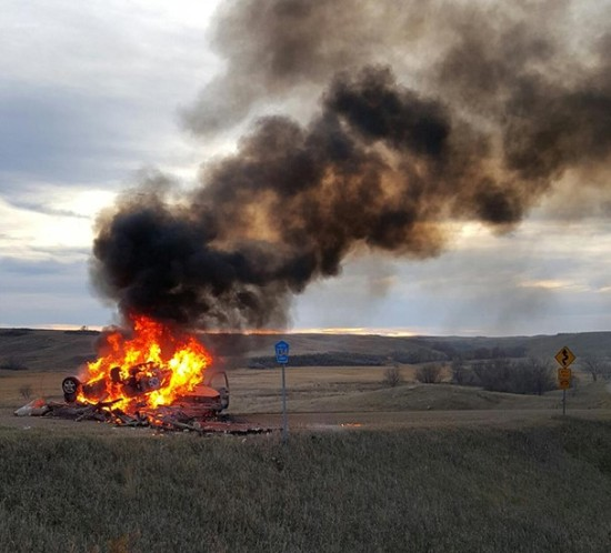 Native American 'Protectors' Burn DAPL Security Truck - http://www.environews.tv/world-news/dapl-security-guard-arrested-shooting-native-american-protectors-set-truck-fire/