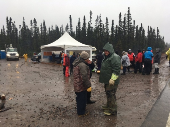 Protesters remained near the Muskrat Falls site Tuesday. (Mark Quinn/CBC)