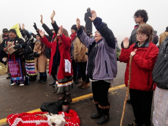 Protesters against the construction of the Dakota Access oil pipeline block a highway in near Cannon Ball, N.D., earlier this month. (James MacPherson/The Associated Press)