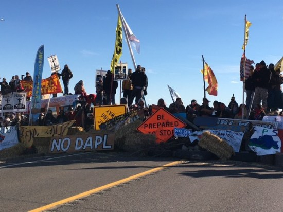 Highway 1806 was shut down in both directions during protest of Dakota Access Pipeline construction.