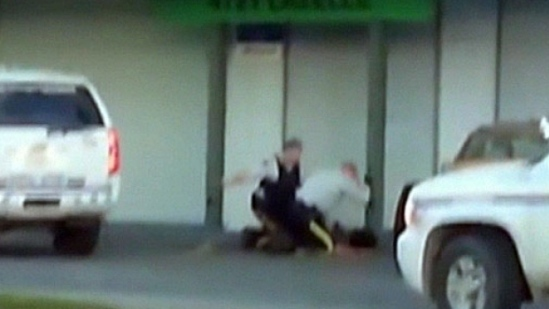 A veteran RCMP officer is awaiting sentencing for punching a handcuffed teenager in the face during a violent arrest in Terrace in 2014. (Terrace Standard Newspaper )