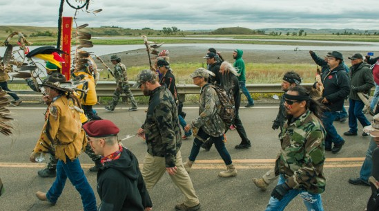 Protesters demonstrate against the Energy Transfer Partners' Dakota Access oil pipeline near the Standing Rock
