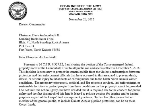 Army Corps evicting everyone from Standing Rock on December 5 by The Daily Haze on Scribd