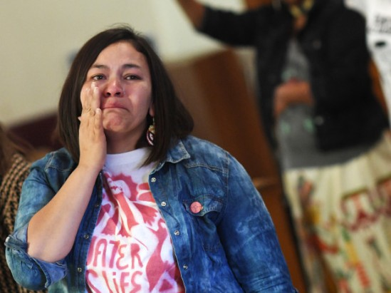 Loma Star Cleveland, who is the little sister of Red Fawn Fallis, joins others at press conference, at 4 Winds American Indian Council in Denver, to show support for Red Fawn, a Denver Native American woman arrested during pipeline protest in North Dakota, November 07, 2016. Red Fawn Fallis remains in jail in North Dakota after being arrested.