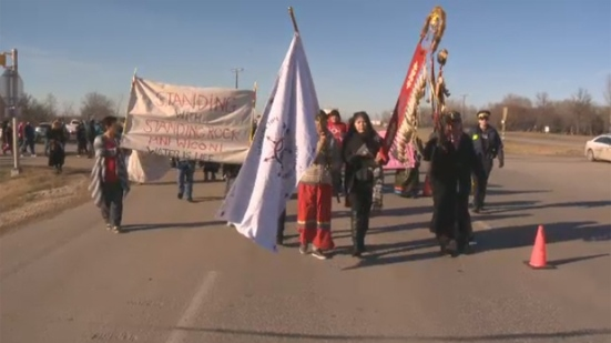 Dakota Tipi Chief Keith Pashe led a protest Saturday that blocked one lane of the Trans-Canada Highway near Portage la Prairie.