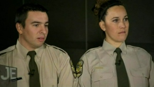 Officers Simon Drouin and Émilie Langlois, two of the officers suspended in the wake of the abuse allegations in Val-d'or, told Quebec network TVA they did nothing wrong. (JE/TVA)