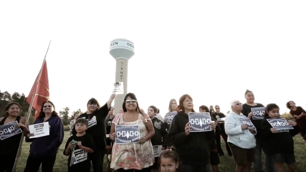 Six Nations residents have been protesting a controversial oil pipeline in North Dakota for months. Their latest protest was Friday at a Brantford mall. (Shane Powless/Youtube)