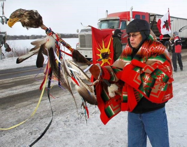 Terry Nelson at the CN rail crossing on the Yellowhead Highway west of Portage la Prairie. (WAYNE GLOWACKI/WINNIPEG FREE PRESS) Winnipeg Free Press  Jan. 16 2013