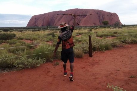 PHOTO Clinton Pyror has walked to Uluru from Perth.