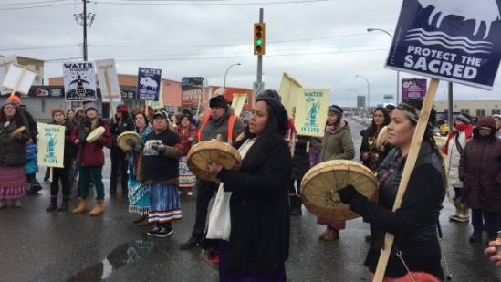 Thunder Bay police say no charges will be laid in connection with a December 2016 rally on Memorial Avenue in Thunder Bay in support of the Standing Rock environmental movement. (Jody Porter/CBC)