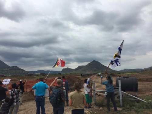 "Photo: Protesters gather where the Trans-Pecos Pipeline is being built near Alpine's ""Sunny Glen"" neighborhood. (Travis Bubenik/KRTS)"