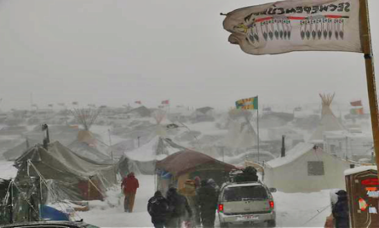 A blizzard battles Oceti Sakowin Camp the day after the victory announcement.Source: Jack Smith IV/Mic