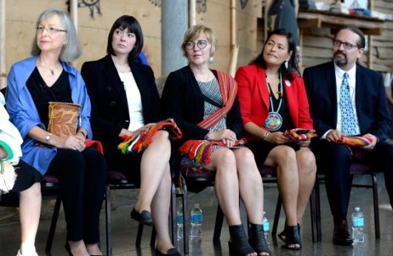 From left, commissioners Marion Buller, Qajaq Robinson, Marilyn Poitras, Michele Audette and Brian Eyolfson listen during the launch of the inquiry into missing and murdered Indigenous women at the Museum of History in Gatineau, Que., on Sept. 1. (Justin Tang/Canadian Press)