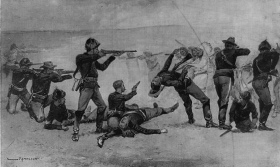 The opening of the fight at Wounded Knee illustration