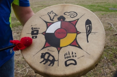 Chris Brooks and his ceremonial drum with The Seven Sacred Teachings painted on it. (Terry Kelly)