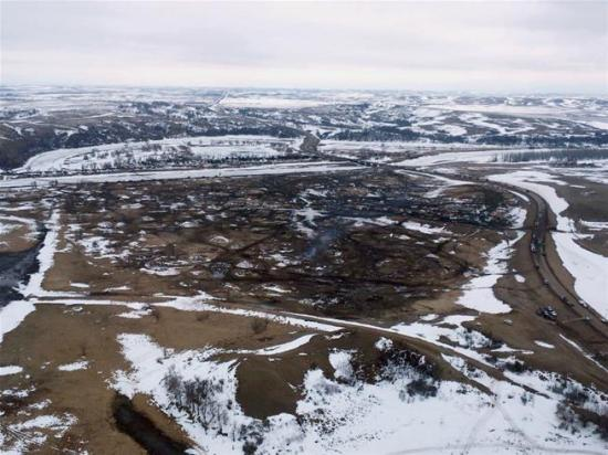 This aerial photo provided the Morton County Sheriff's Department shows the closed Dakota Access pipeline protest camp near Cannon Ball, ND, on Thursday. (Uncredited)