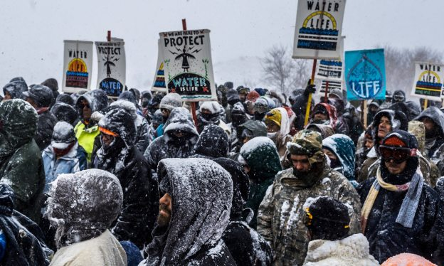 Activists at Standing Rock have faced blizzard conditions at the camp during the winter months. Photograph: Michael Nigro/Pacific/Barcroft