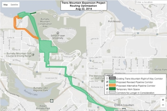 The proposed route for the Kinder Morgan expansion pipeline is highlighted in green. The orange trail is an alternative route — which runs through a residential area.