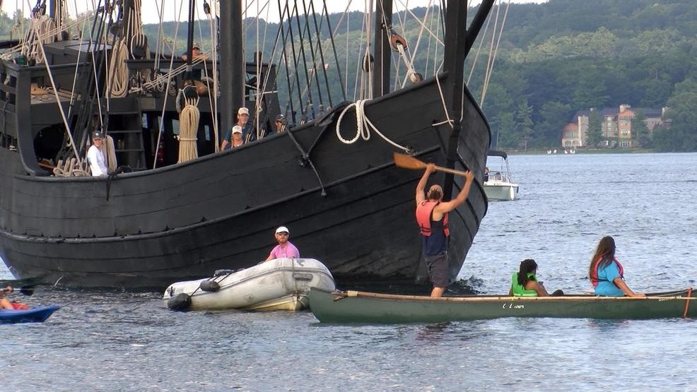 Native Americans Protest Christopher Columbus' Ship Replicas in Traverse City