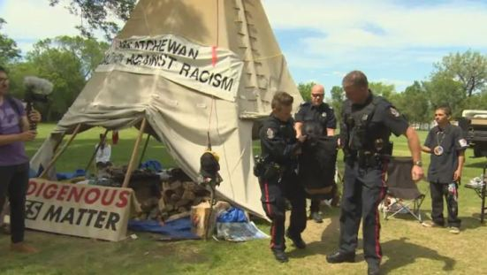 On Monday, police arrested six people from the teepee near the Saskatchewan Legislature in Regina.